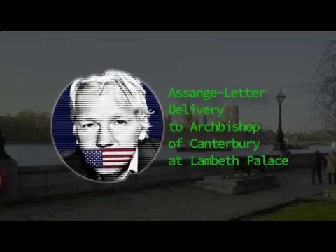 Assange-Letter Delivery to Archbishop of Canterbury at Lambeth Palace