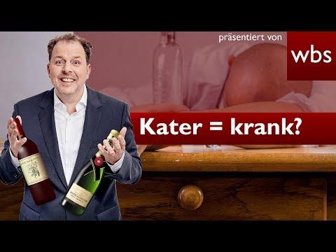 Abends betrunken + morgens Kater = krank?   Rechtsanwalt Christian Solmecke