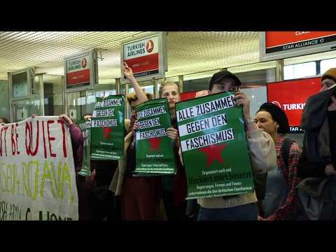 Feministische Blockade gegen Turkish Airlines am Flughafen Berlin-Tegel! #womendefendrojava