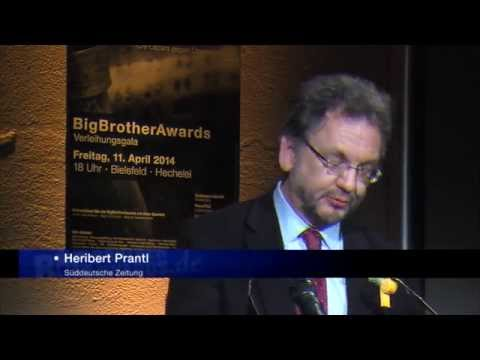 BigBrotherAwards 2014: Heribert Prantl Laudatio auf Edward Snowden (12.04.2014)