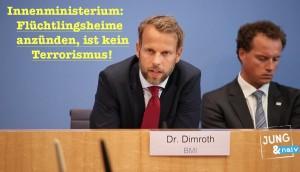 Bundesregierung: Wer Flüchtlingsheime anzündet, ist kein Terrorist