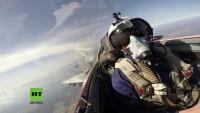 Russland: Blick aus dem Cockpit einer MiG-29 bei Luftkampfübung